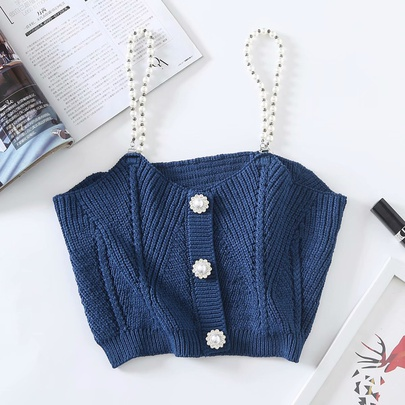 Diamond Buckle Pearl Knit Chain Sling Top NSAM55728