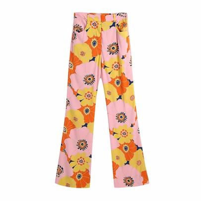 Wholesale Spring Flower Printed Casual Pants NSAM55738