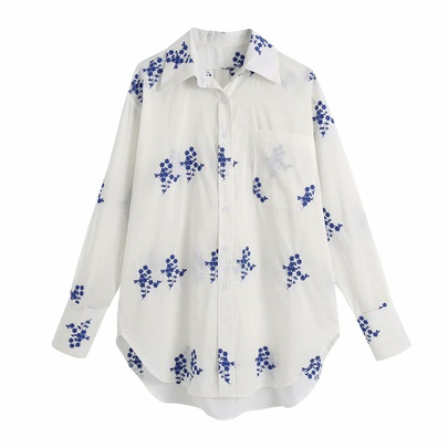 Spring Pocket Embroidered Shirt NSAM55747