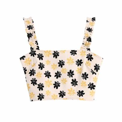 Spring Flower Print Short Vest  NSAM55756