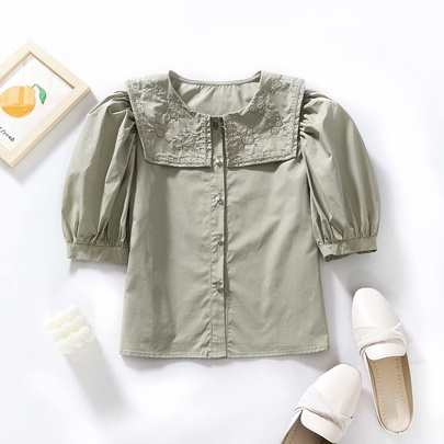 Spring Embroidery Neckline Blouse Top NSAM55758