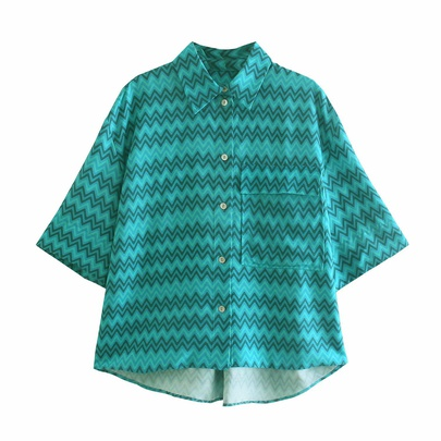Spring Halter Collar Women's Short-sleeved Shirt NSAM55763