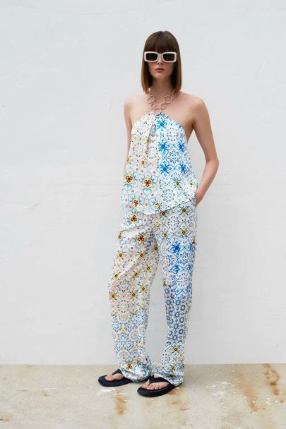 Wholesale Spring Patchwork Printed Wide-leg Pants NSAM55768