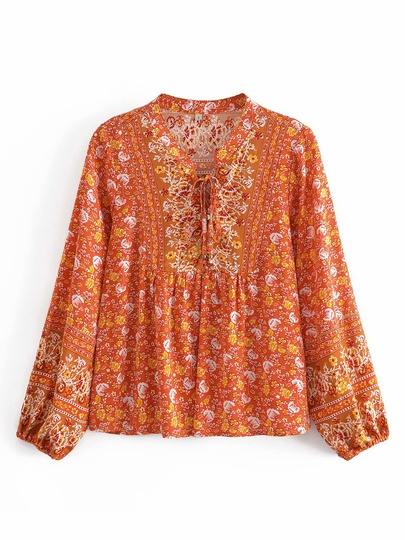 New Round Neck Single-breasted Color Matching Printed Long-sleeved Shirt NSAM55771