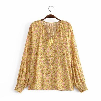 Spring Cotton Water Printing Long-sleeved Tassel Loose Shirt NSAM55781