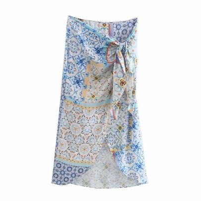 Spring Patchwork Printed Sarong Skirt  NSAM55791