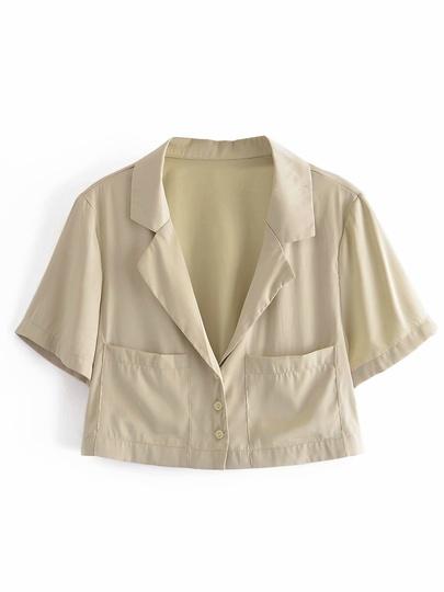 New Drape Suit Collar Short Shirt NSAM55793