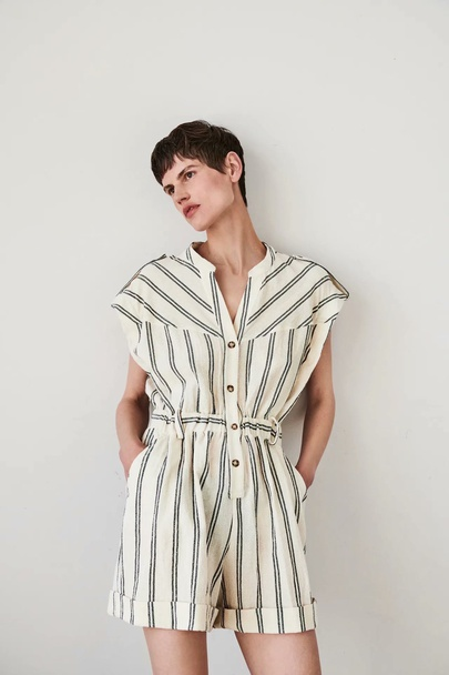 Wholesale Spring Holiday Style Striped Jumpsuit  NSAM55795