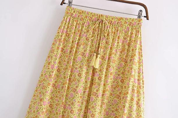 Spring Cotton Water Print Fringed Elastic Waist Skirt NSAM55798