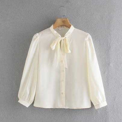 Spring Pearl Buttons And Bow-knot Top NSAM55799