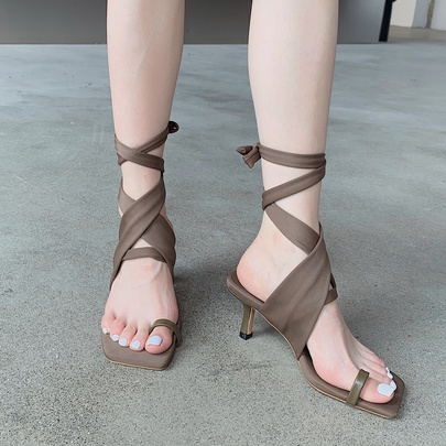 Retro Lace-up Solid Color Square Toe Stiletto Sandals  NSCA55899
