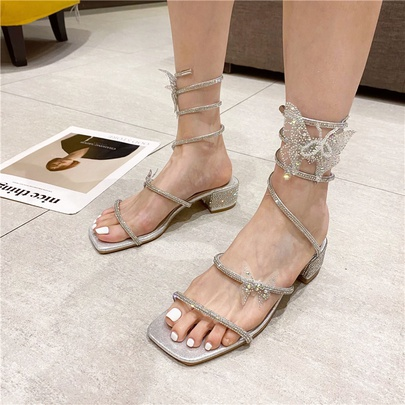 Rhinestone Butterfly Ankle Ring Winding Thick High-heeled Sandals   NSCA55900