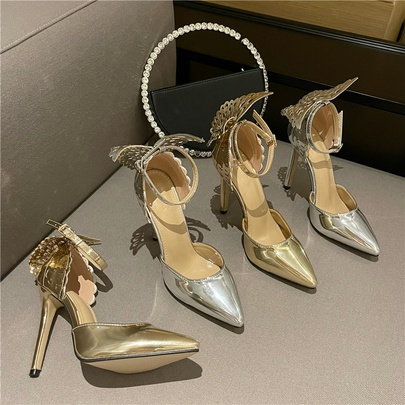 Bow Point Toe Gold And Silver High Heels  NSCA55903