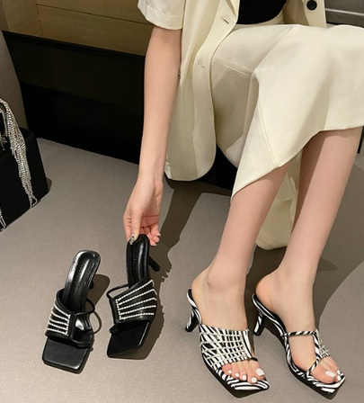 Cross Strap Rhinestone Square Toe High Heel Slippers  NSCA55904