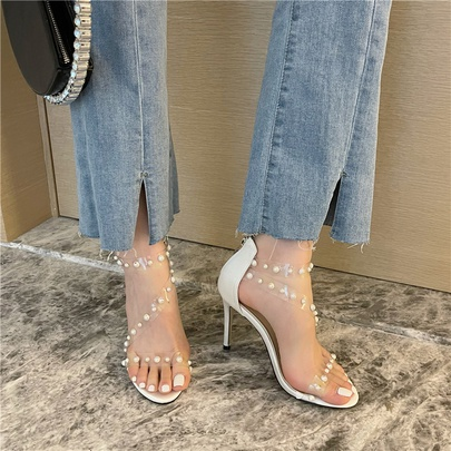 Open Toe Pearl Chain Transparent Stiletto Sandals  NSCA55906