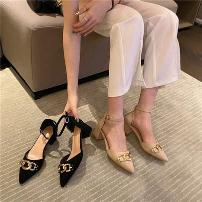 Fashion Hollow Retro Thick-heeled High Heels  NSCA55910
