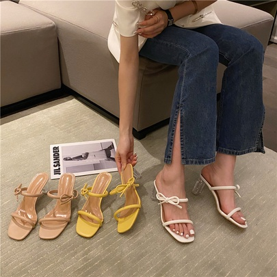 Square Toe Thin Strap Bow Mid-heel Slippers  NSCA55911