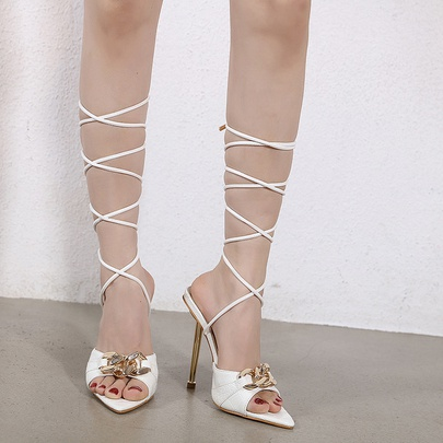 Pointed Toe Strap Metal Decorative Stiletto Sandals NSCA55916