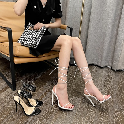 One Word Thin Cross Strap Solid Color Stiletto Sandals NSCA55917