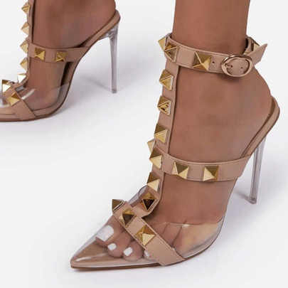 Transparent Rivet Pointed Toe Stiletto T-strap Sandals NSCA55922