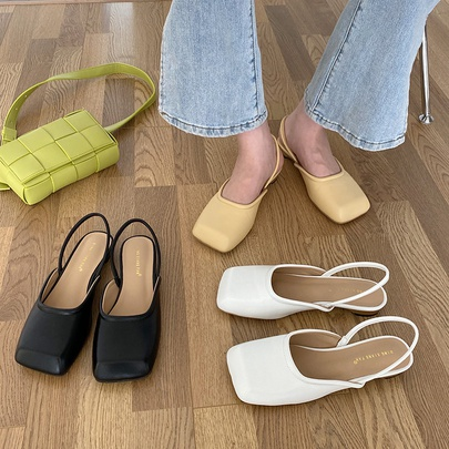 Square Toe Flat Pure Color Small Leather Shoes NSCA55927