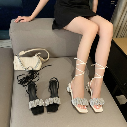 Open-toed Square Toe Rhinestone Word Belt High-heeled Sandals   NSCA55929