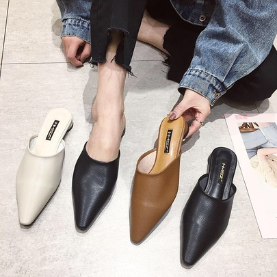 Fashion Solid Color Pointed Toe Muller Half Slippers  NSHU55958