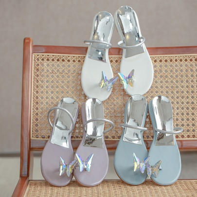 Butterfly Metal Set Toe Beach Flat Flip-flop Slippers  NSHU55960