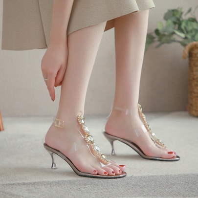 Fashion Word Buckle Open Toe Rhinestone Transparent Stiletto Sandals  NSHU55964