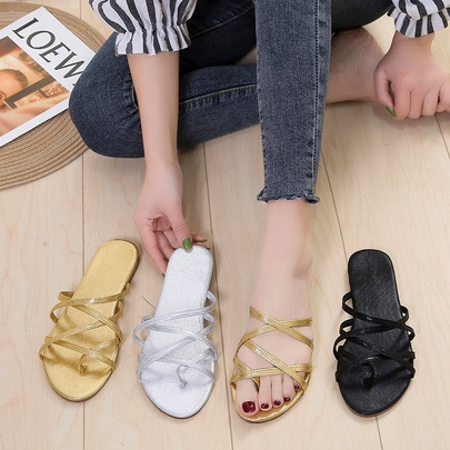 Large Size Cross Thin Straps Flat Slippers   NSPE55970
