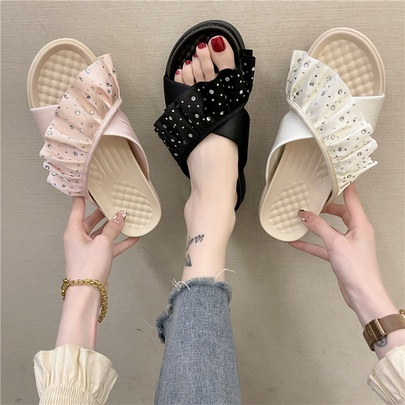 Thick-soled Rhinestone Cross Straps Fashion Round Head Casual Slippers NSPE55972