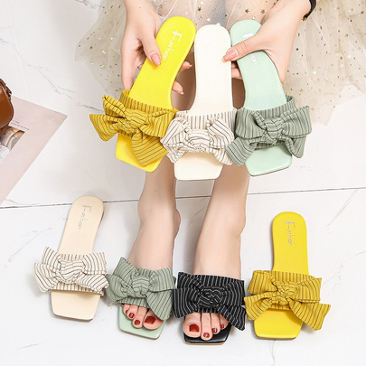 Fashion Stripe One Word Strap Bows Decor Flat Slippers  NSPE55975