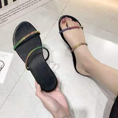 Fashion Casual Open Toe Word Flat Bottom Slippers NSPE55980