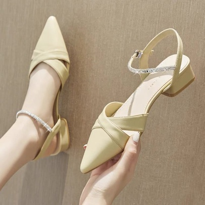 Summer Leather Pointed Heeled Sandals NSZSC56123