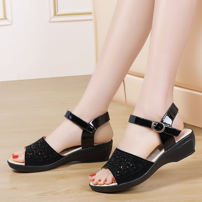 Fashion Hollow Leather Ankle Strap Sandals NSZSC56128