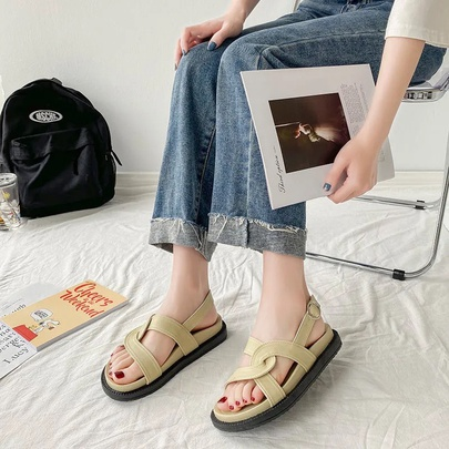 Fashion Interwoven Leather Slingback Sandals NSZSC56140