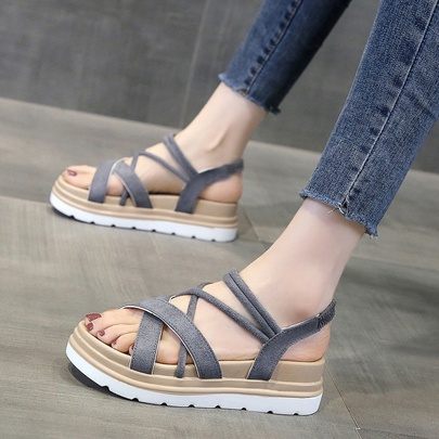 Fashion Cross Straps Thick Flat Sandals NSZSC56149