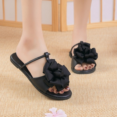 Summer New Black Flower One Word Buckle Sandals  NSZSC56290