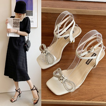 Rhinestone Bow Thick Heel Summer New Style Square Toe Open Toe Mid-heel Sandals NSZSC56297