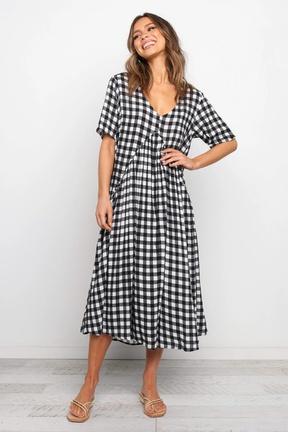 spring and summer new v-neck slim short-sleeved plaid stitching dress NSLIB57186