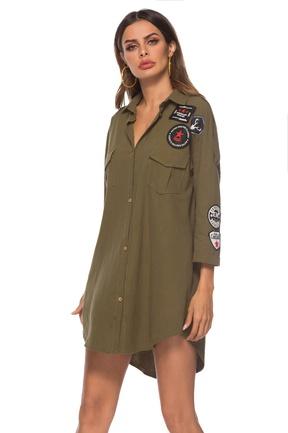 Summer new shirt skirt green pattern sleeve shirt dress NSLIB57132