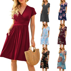 spring and summer new short-sleeved printed loose mid-length dress NSYIS57110