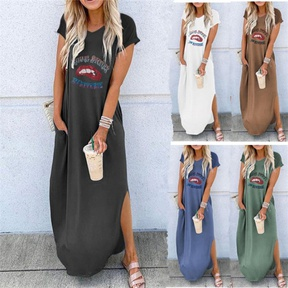 spring and summer new round neck short-sleeved loose mid-length dress NSYIS57104