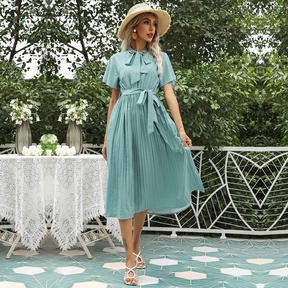 spring and summer new short-sleeved lace-up printed pleated dress NSYIS57088