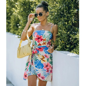 Summer new floral print sling straps irregular dress NSJIM57367