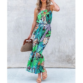 Summer new style tropical rainforest floral print large-length ruffled sling dress NSJIM57366