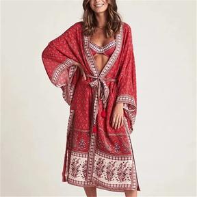 cashew positioning printing mid-length kimono jacket NSAC57384