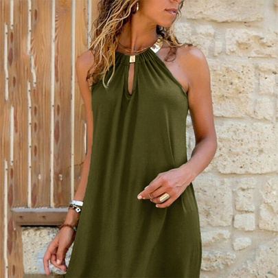 Hanging Neck Sleeveless Solid Color Casual Short Dress NSYIS55014