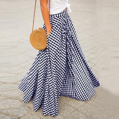 Elegant Spring And Summer New Large Size Loose Plaid High Waist Large Skirt NSLIB54773