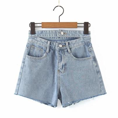 Wholesale Summer New Double Waist Hollow Denim Shorts NSAM54554